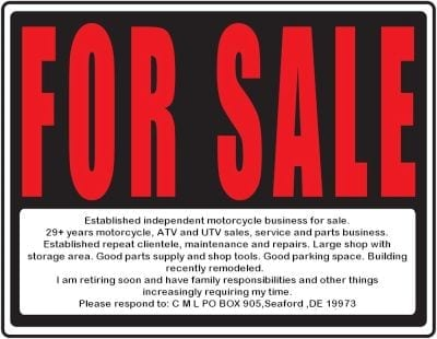 motorcycle business for sale