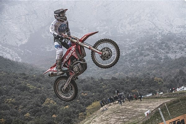 Ivo Monticelli  jumping his GasGas motorcycle