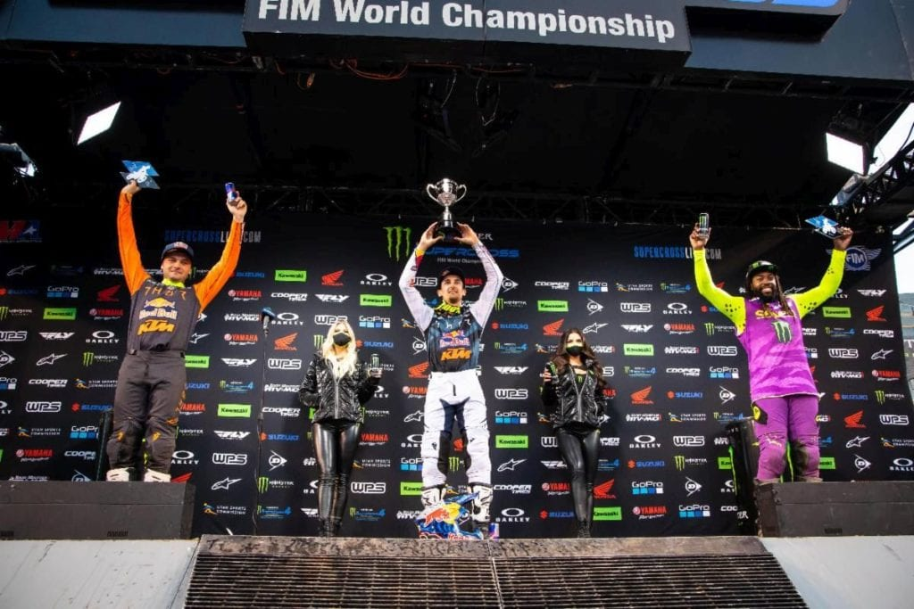 450SX Class podium (riders left to right) Cooper Webb, Marvin Musquin, and Malcolm Stewart. Photo Credit: Feld Entertainment, Inc.