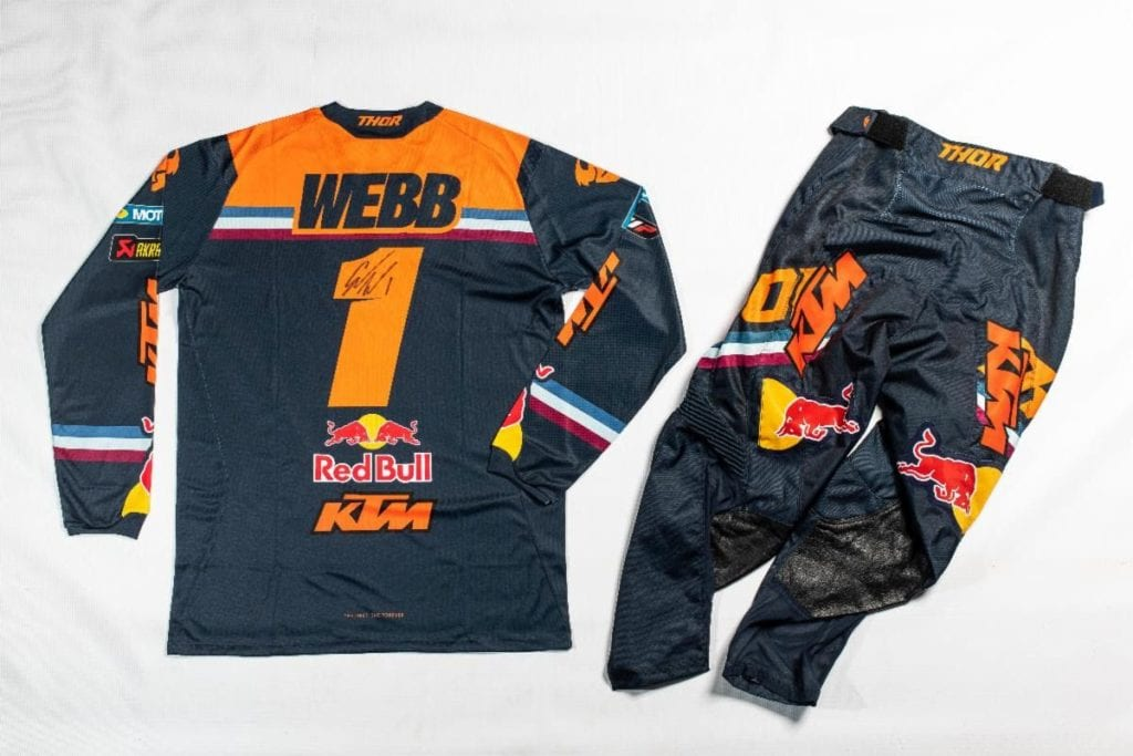 Authentic, jersey and pants autographed by the 2021 Monster Energy Supercross 450SX Class Champion, Cooper Webb