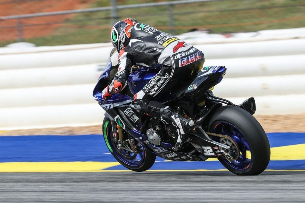 Jake Gagne broke the Michelin Raceway Road Atlanta lap record in HONOS Superbike action on opening day of the 2021 MotoAmerica Series on Friday. Photo by Brian J. Nelson