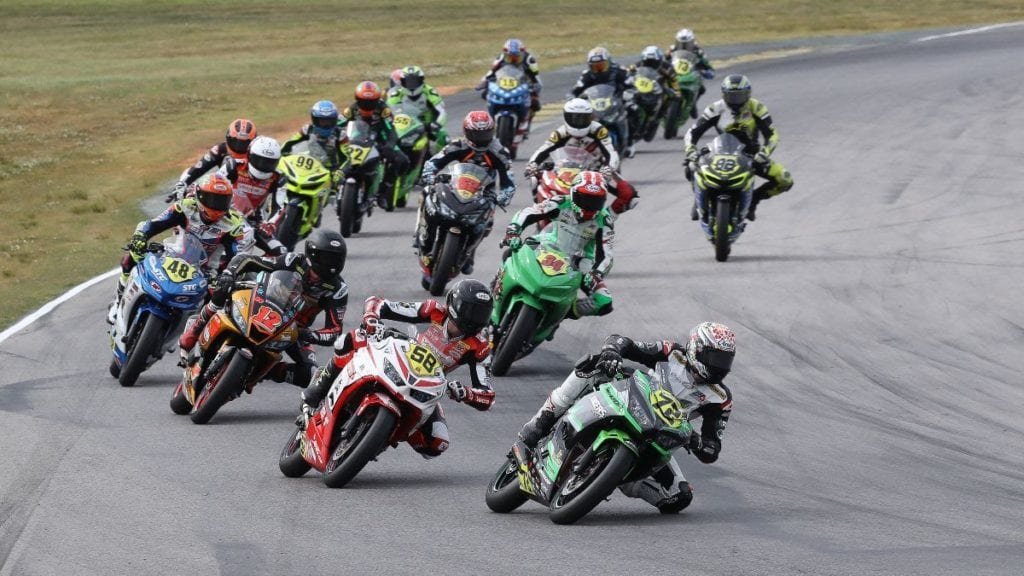 Ben Gloddy (72) won his second SportbikeTrackGear.com Junior Cup race of the year after emerging from a big scrap at VIR.  Photo by Brian J. Nelson