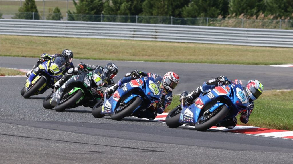 Sam Lochoff (44) won his first-career MotoAmerica race with a win over Sean Dylan Kelly (40), Richie Escalante (1) and Rocco Landers (97) in the Supersport race in New Jersey.  Photo by Brian J. Nelson