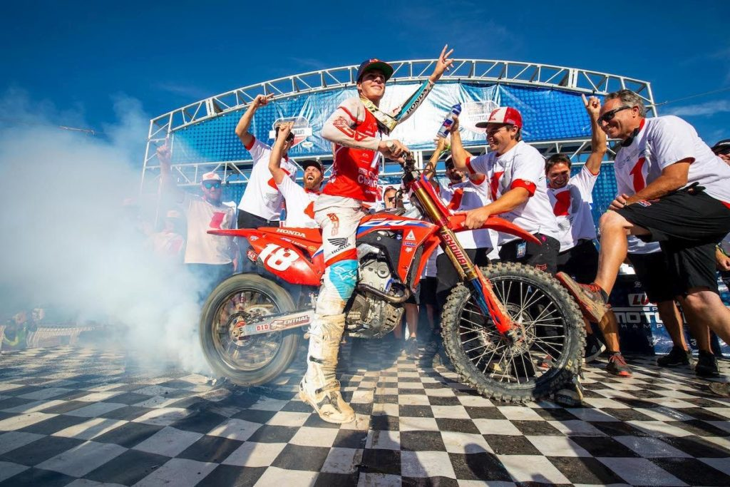18-year-old Team Honda HRC rider Jett Lawrence who emerged with the Gary Jones Cup as the first ever Australian champion in the smaller displacement.